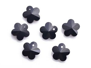 10pcs-Black-Faceted-Flower-Crystal-Glass-Beads-Loose-Charm-Pendants-14x14mm-New