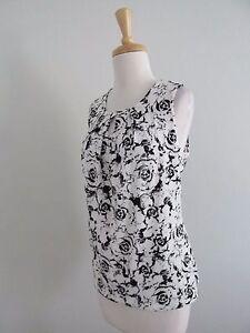 b8e6675dab643f New Ann Taylor Factory Size M Black+White Floral Print Sleeveless ...