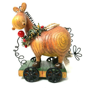 Vintage Pull Toy Horse Christmas Ornament Wire Pull And Mane And Tail
