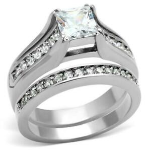 Stainless-Steel-Princess-Square-CZ-Wedding-Engagement-Band-2-Ring-Women-039-s-Set