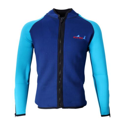 Men 2mm Wetsuit Jacket Neoprene Long Sleeve Diving Surfing Top Swimsuit Swimwear