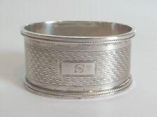 "VINTAGE ENGLISH HALLMARKED STERLING SILVER NAPKIN RING, MONOGRAM ""S"", 20 grams"