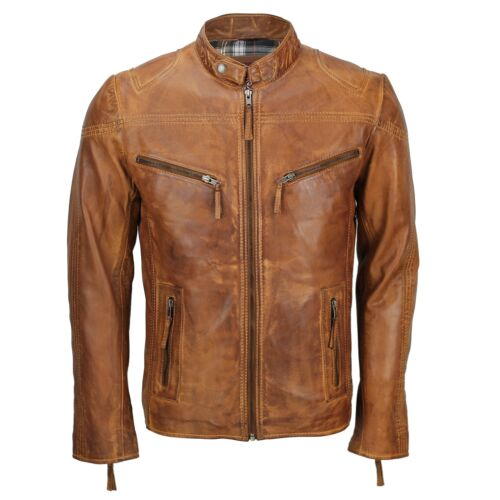 véritable ajustée cuir homme motard Veste pour brun en clair RqT4wt