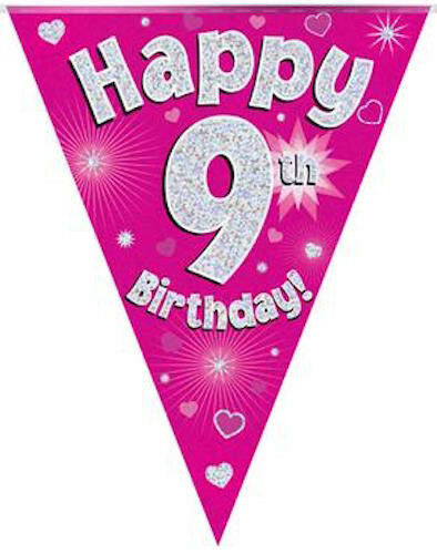 9th BIRTHDAY FLAG BANNER PINK HOLOGRAPHIC PARTY BUNTING 11 FLAGS 3.9m/12.8ft