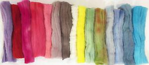 15 Colors! Hand-dyed MERINO Wool Top for Felt - Nuno Felt- Spin - Craft 4.5 oz