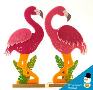 Grande FLAMINGO feltro COPPIA decorazione casa appartamento personaggi rosa regalo di legno NUOVO