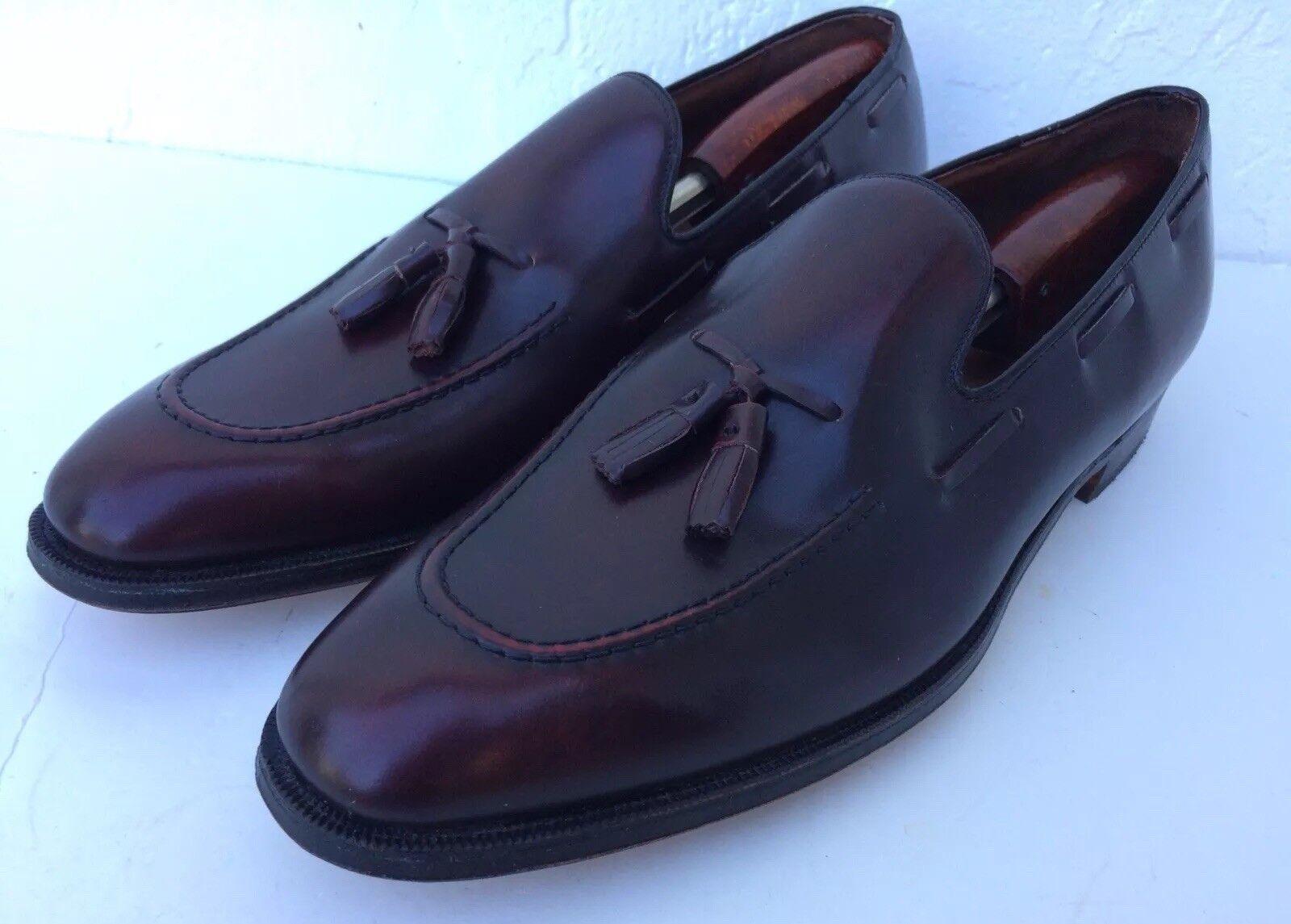 Herren Hanover Tassel Master Flex Tassel Hanover Slip On Loafers Burgundy Leder Größe 14 AAA EUC a7b8dc