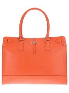 Image is loading Salvatore-Ferragamo-Orange-Briana-Tote-Medium-Leather-Bag- edafbe933edf0
