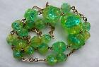 Art Deco Czech  Uranium Green Bi-Colour  Glass Bead Necklace