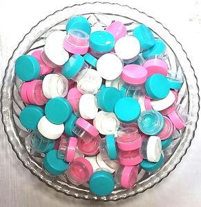 50 Sample JARS 3301 Makeup Balm Container Aqua Pink White Cap 1tsp  DecoJars