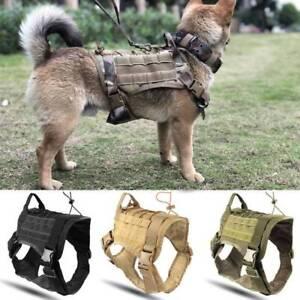 Detachable-Tactical-Dog-Training-Molle-Vest-Harness-Pouches-Military-K9-Harness