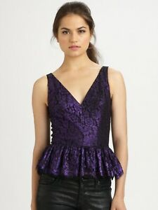 Robert-Rodriguez-Blue-amp-Black-Dressy-Sleevless-Lace-Peplum-Top-Sz-6-S