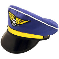 Blue & GOLD ARIA Aviatore Pilota Hat Cap Costume Accessorio h36 159