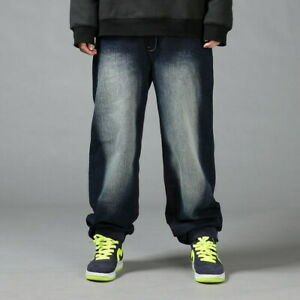 Mens-HipHop-Jeans-Denim-Baggy-Pants-Stonewashed-Relaxed-Hipster-Loose-Streetwear