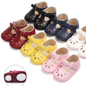 820392ade53b Baby Girls Crib Shoes Soft Rubber Sole First Walker Hollow ...