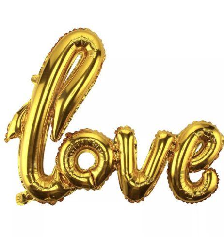 wedding anniversary Valentines Day Self-inflating NEW Gold Script Love Balloon