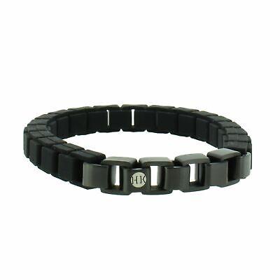 Schmuck Herren Armband Leder Edelstahl Schwarz N5K8 Armreif
