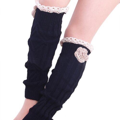 Women Boot Socks Fashion Winter Warm Knitted Lace Trim Leg Crochet Design New