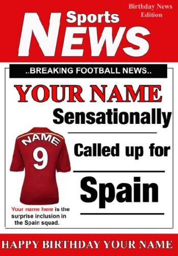 A5 personnalisé Espagne Football De Voeux Carte d/'Anniversaire Tout Nom