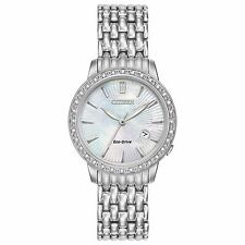 Citizen Eco-Drive Women's EW2280-58D Diamond Accents Silver-Tone 29mm Watch