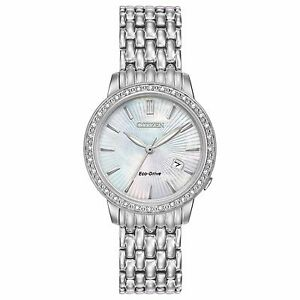 Citizen Eco-Drive Women's EW2280-58D Diamond Accents Silver-Tone 29mm Watch