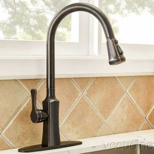 Lead-Free Single Handle Oil Rubbed Bronze Pull Down Prep Sprayer Kitchen Faucets