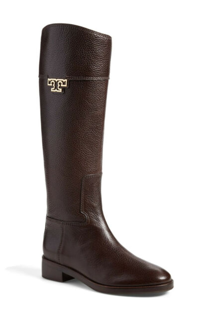 40452f92be82 NIB Tory Burch Joanna Leather Gold Logo Riding Tall Boots 9.5 Coconut Brown  NEW