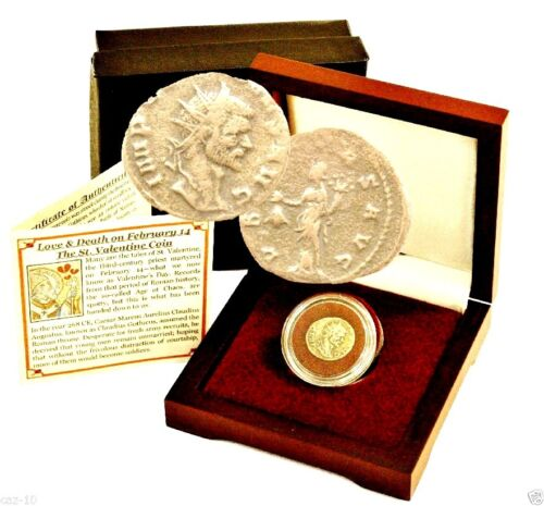 The St Valentine Coin-Love & Death On Feb 14th Bronze Coin of Claudius II, Boxed