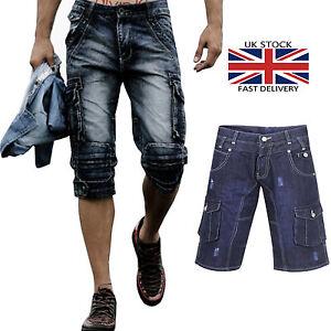mens denim jeans shorts combat casual trousers half pant 3