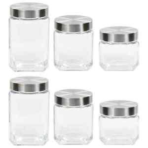 vidaXL-6x-Storage-Jars-with-Sliver-Lid-800-1200-1700ml-Preserving-Container