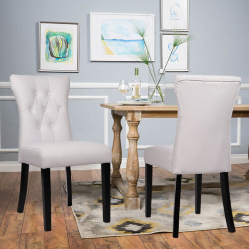 2x/4x Modern White Dinning Chairs Armless PU Leather Padded Room Cafe Club Chair