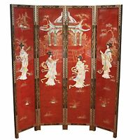 Mottled Red With Mother Of Pearl Room Divider Screen Oriental Chinese Furniture