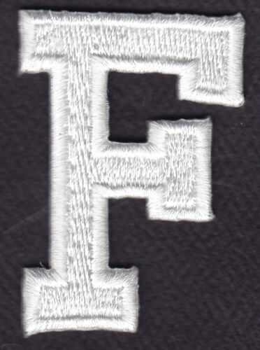 """LETTERS WHITE BLOCK LETTER /""""F/"""" 1 7//8/"""" - Iron On Embroidered Applique Patch"""