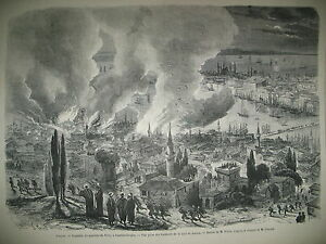 TURQUIE-CONSTANTINOPLE-PERA-INCENDIE-CHARLES-DICKENS-CAMP-CHALONS-GRAVURES-1870