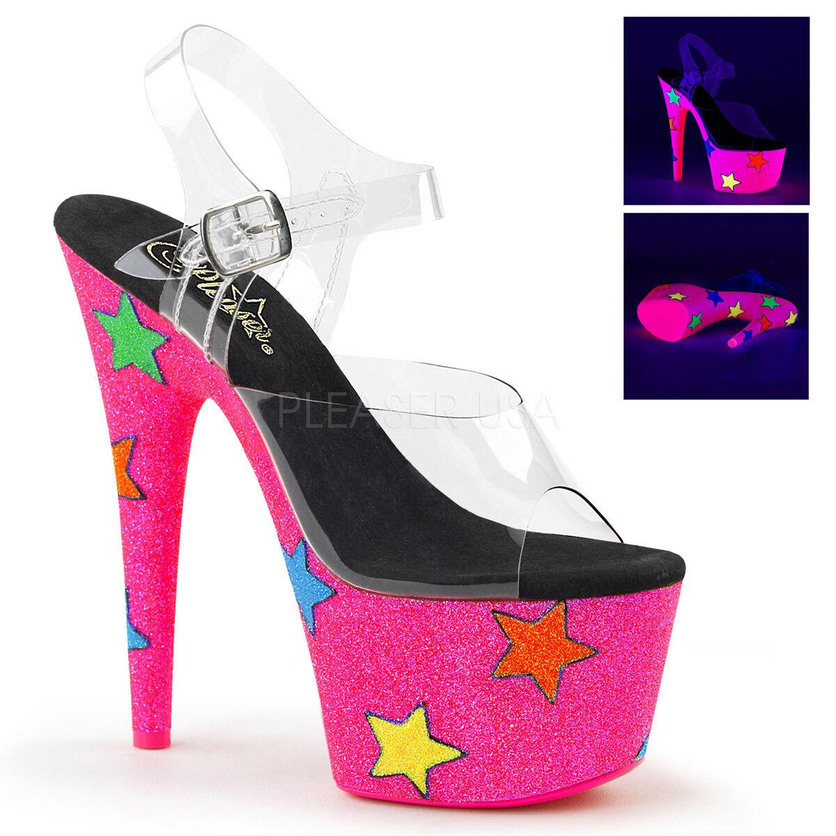 PLEASER Sexy Stripper UV Reactive Neon Pink Glitter Stars Platform 7