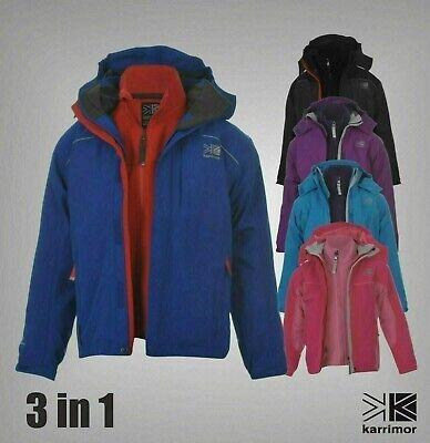 3 In 1 Boys Girls Karrimor Waterproof Breathable Jacket Fleece Size Age 7-13