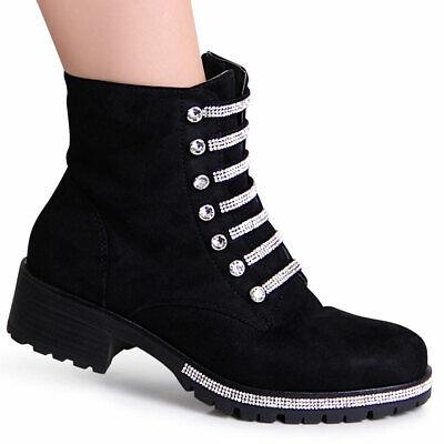 Damen Worker Biker Boots Glitzer Velours Plateau Stiefeletten Booties   eBay