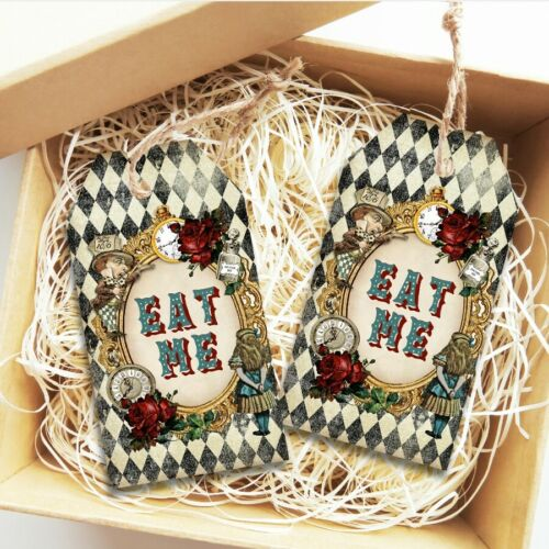 Cake Tags Birthday Wedding Alice in Wonderland Eat Me Tags Favors Tea Party