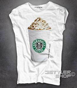T-shirt donna STAR SKULL TESCHIO Cappuccino frappuccino Death logo 7 Amazink