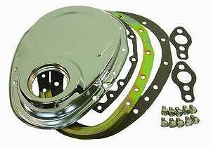 Small block chevy chevrolet timing chain cover 2 two piece chrome 283 350 400