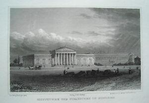 Muenchen-Pinakothek-und-Glyptothek-Bayern-echter-alter-Stahlstich-1840