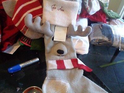 Pottery Barn Fair Isle Reindeer Christmas Stocking Mono Jo