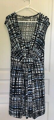 Basque Black Stretch Dress With Blue & White Print Clothing, Shoes, Accessories Size 10 Dresses