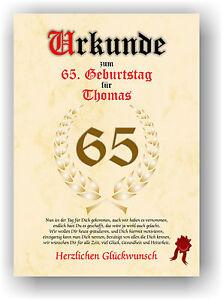 Urkunde-zum-65-GEBURTSTAG-Geschenkidee-Geburtstagsurkunde-Namensdruck-Partydeko
