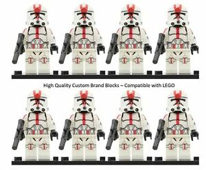 CLONE-ARMY-RED-Lego-MINIFIGURES-STAR-WARS-CLONE-TROOPERS-501ST-QTY-8