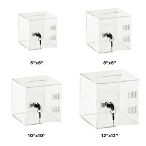 AdirOffice Black Acrylic Ballot Comment Suggest Donation Box with Rear Door