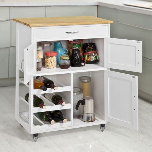 39 Kitchen Island Ideas With Storage: SoBuy Fkw45-wn Kitchen Storage Serving Trolley Cart With