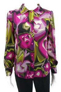 Missoni for Target Womens Abstract Geometric Floral Pink Woven Blouse Size XS