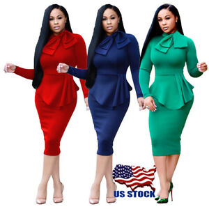 c55bc70f43 Image is loading Women-Casual-Long-Sleeve-Dresses-Bodycon-Evening-Elegant-