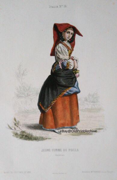 UnermüDlich Vintage Engraving Polla Salerno Portrait Antique Print Musée De Costumes Xixey F FüR Schnellen Versand